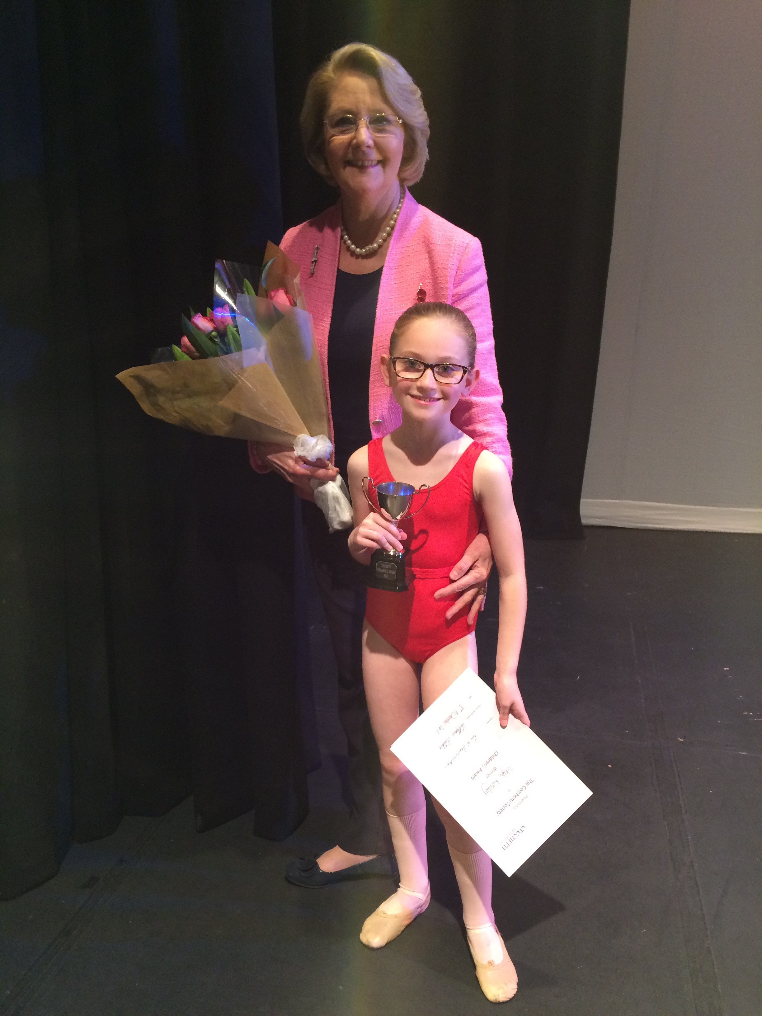 HBS Prize winner with Paris Brownie Notley at 2015 Under 10's Children's Awards